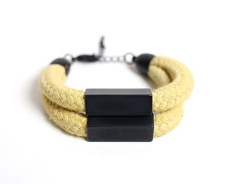 Cotton Bracelet in mustard with black beads