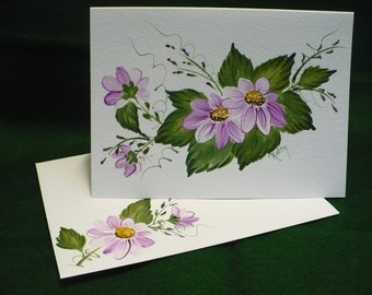 Hand Painted Gift Card ... Original Design ... Acrylic Purple Daisy Bouquet ... 140# Strathmore Cold Press Paper ... with Matching Envelope.