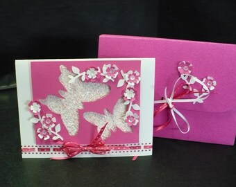 Butterfly Fantasy Greeting/ Gift Card ... Glittery Butterflies and 3-D Flowers Decorate This Fanciful Card.  Comes with an Envelope Box.
