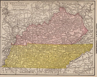 Antique TENNESSEE Map KENTUCKY Map Vintage 1917 MINIATURE Map Haw 6558