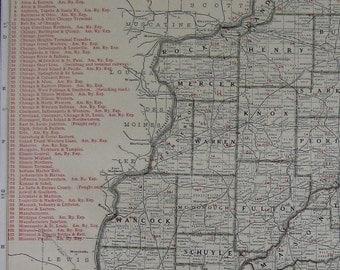 1927 Antique ILLINOIS Map of Illinois w Railroads Rare Size Illinois Gallery Wall Art Gift for Birthday Graduation Traveler  6858
