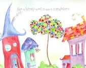 Original 8x10 Watercolor Painting with Houses and Polkadot Tree - Whimsy Town