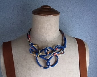 Japanese Chirimen cord knot necklace / fabric cord jewelry -Blue/ kimono