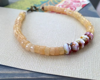 beaded gemstone bracelet, honey quartz heishi beads, czech glass dark pink berry swirl, layering bracelet with clasp