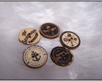 Nautical Wooden 15mm buttons x 10