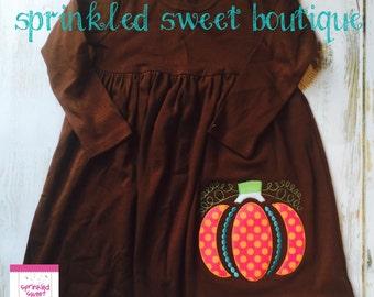 Ornamental Pumpkin Fall Applique Monogram Girls Dress Custom