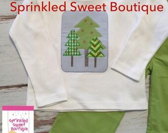 Winter Trees Boys Appliqué Cute Merry Christmas Holiday Custom Shirt Boy Corduroy Matching Pants Available Shirt Only