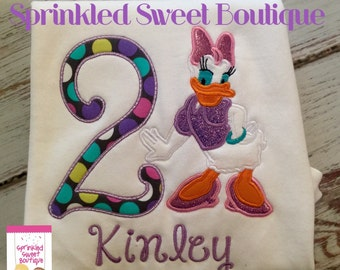 Disney Daisy Duck Custom Birthday Applique Shirt Mickey Mouse Clubhouse Any Number Can Be Added Disney Trip Vacation Party