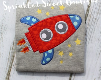 Boys Rocket Space Ship Applique Shirt Add Name Monogram Perfect for Space Birthday