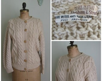 Cream A&S Wool Cableknit Sweater// 1960's