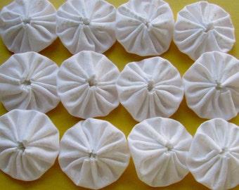 Yo Yos 30 1 1/2  inch assorted  white fabric