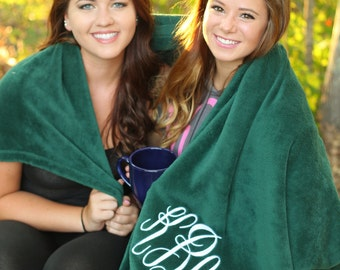CUSTOM Monogram Plush Blanket -- Perfect for Sorority and Fraternity's! Perfect Graduation Gift!