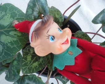 Vintage Red Knee Hugger Red Pixie Elf with a Jingle Bell Holiday Decorations Christmas Decorations Red Felt Pixie Elf Knee Hugger