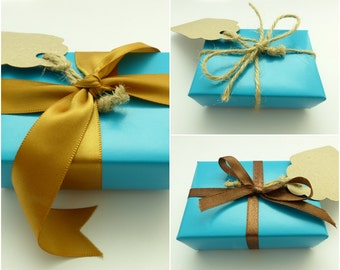 Turquoise Blue Paper Gift Wrapping Service Add-on with Various Ribbon Styles
