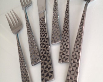 Mid Century Cosmos Sculptural Geometric  Stainless Flatware 6-Piece Setting