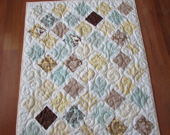 """Quilt for baby and crib.....""""Lattice .... Lily and Will  fabric..Brown....Yellow....Blue"""