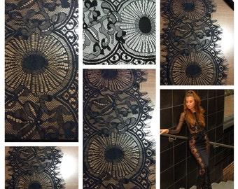 Black Chantilly Lace Trim, Lace Trim, Black Lace, Eyelash Lace G38-522