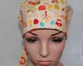 Surgical Scrub Hat/ Mini Chemo style hat with band-Harvest 11303