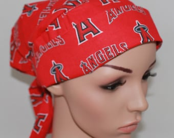 California Angels,Scrub Hat, Tie back Pleated Surgical Scrub Hat with band, Women's Scrub Hat