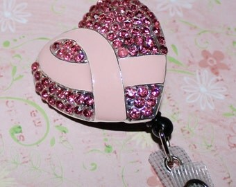 Breast Cancer Awareness Pink Ribbon-ID Badge Holder with Retractable Reel - ID Badge Clip- Lanyard- October Breast Cancer Awareness Month