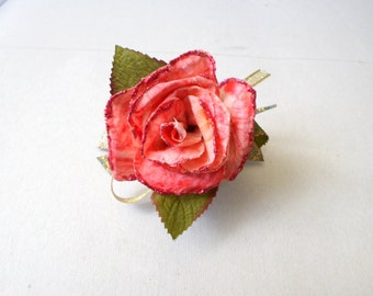 Handmade Hand painted Red Pink Rose Clip/Barrette