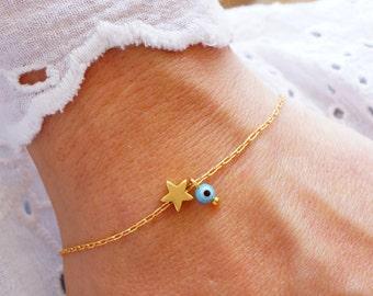 Star Bracelet - Turquoise Evil Eye Bracelet - Matte Gold Star Bracelet - Lucky Charm Bracelet - Bridesmaid Gift  (Also in Silver)