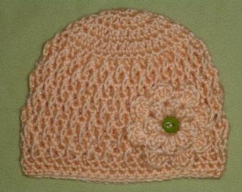 3-6 Months Baby Girl Hat in Peach