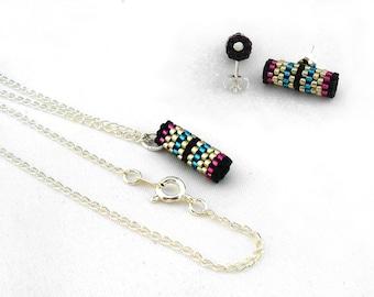 Peyote Tube Necklace, Silver Peyote Jewelry, Modern Bridesmaid Jewelry Gift Set, Bright Stud Earings, Minimalist Earrings - Made in Germany