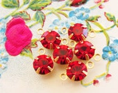 Swarovski Ruby Red Rhinestone 6mm Round Drops or Connectors Charms Brass Settings - 6