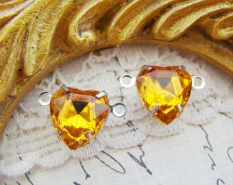 Vintage Swarovski Crystal Topaz Heart Rhinestone Connector Silver Plated 2 Ring Link Settings - Pair