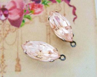Vintage Swarovski Pink Rosaline 15x7mm Rhinestone Navette Glass Stones Antiqued Silver Ox DROP Settings- 2