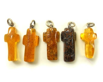 Hand Carved Amber Baltic CROSS - Honey - Cognac - cherry - size L - 5pcs available