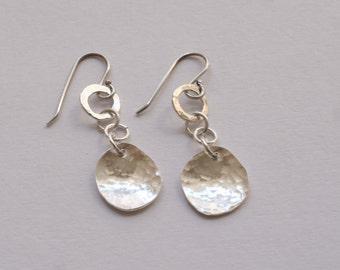 Dangle earrings, Rustic sterling silver dangle earrings, OOAK, ready to ship