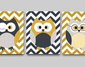 Baby Boy Nursery Wall Art Kids Wall Decor Kids Art Owl Wall Decor Baby Nursery Print Owl Wall Art Childrens Art set of 3 8x10 Gray Navy