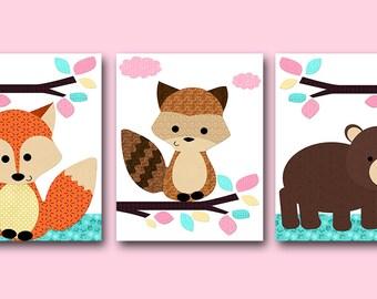 Pink Mint Yellow Fox Bear Raccoon Canvas Print Baby Girl Nursery Art Nursery Wall Art Baby Nursery Kids Room Decor Kids Art Prints set of 3