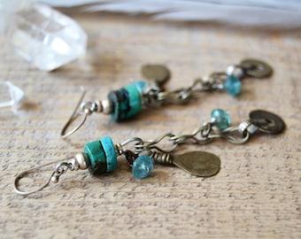 Long bohemian earrings, boho jewelry, ethnic tribal jewelry, turquoise earrings, gift for her