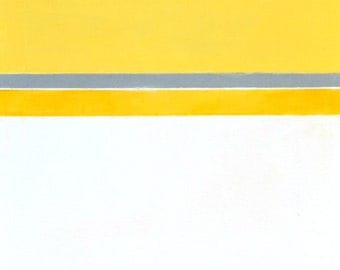 Absolute, 2015 - Original Acrylic Artwork Modern Abstract Painting Wall Decorative Free Shipping Grey Yellow White 12x36 Canvas