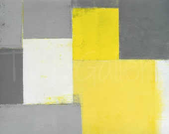 Out of Step, 2016 - Original Acrylic Artwork Modern Contemporary Abstract Painting Wall Decor Free Shipping Grey Yellow White 11x14 Paper