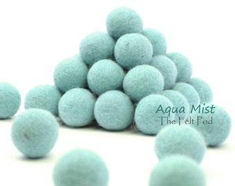 Wool Felt Balls // Felt Ball Garland DIY // diy Mobile // diy Necklace // Poms // Beads // AQUA MIST // 1 cm 1.5 cm 2 cm 2.5 cm 3 cm 4 cm