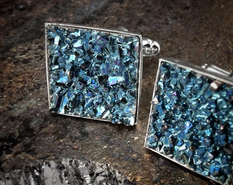 Crystal Cufflinks - Square Bismuth Crystals - Custom Order - Choose Crystal Color - Gift for Groom - Gift for Scientist - Graduation Gift