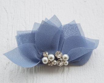 Periwinkle blue flower headpiece, blue floral headpiece, bridal headpiece, bridesmaid accessories, wedding headpiece, blue hair flower