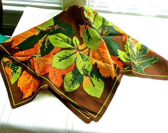 Vintage Scarf - Woman's Head Scarf - Autumn Colours - Leaf Pattern - Retro Neck Scarf -Orange Green Brown - Hipster - Vintage Fall Accessory