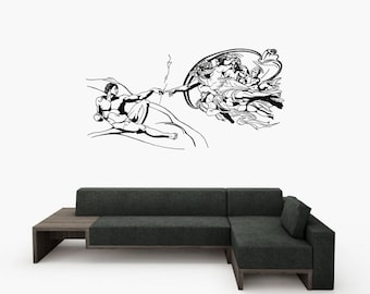 Wall Art inspired by Michelangelo's The Creation of Adam vinyl wall decal for your livingroom and bedroom wall art decor