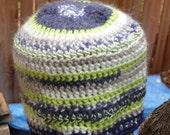 Seattle Seahawks Crochet Sports Beanie Hat Acrylic Alpaca with soft bamboo trim