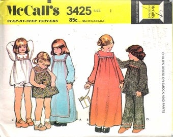 """Vintage 1972 McCall's 3425 Girl's Dress or Smock & Pants Sewing Pattern Size 1 Breast 20"""""""