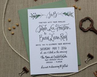 Garden Wedding Invitation ~ Romantic Wedding Invitation ~ Calligraphy Custom Wedding Invitation ~ Floral, Green, Script, Traditional