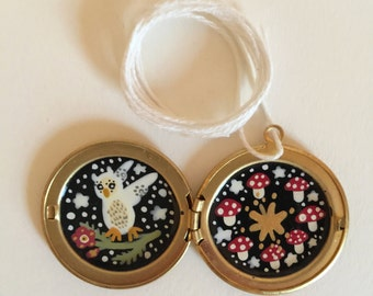 White Owl Carring Flowers Hand Painted Brass Locket Necklace