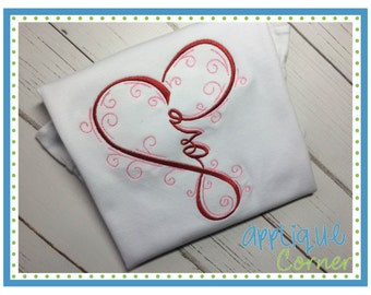 915 Love Intertwined  Valentine's Day applique design in digital format for embroidery machine by Applique Corner