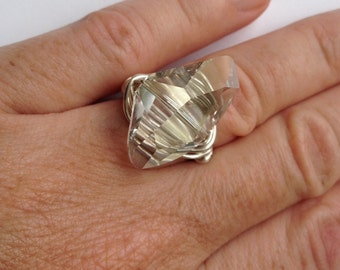Sparkling  Swarovski Crystal Wire Wrapped Ring, summer jewelry,sparkle ring