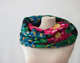 navy infinity scarf, floral loop scarf, wool, Russian scarf, Russian shawl, vintage babushka, indigo, emerald green and pink, cowl scarf 151